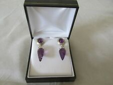 Dower & Hall Sterling Silver Amethyst Earrings for Pierced Ears British