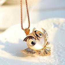 Silberkette Kette Halskette mit Anhänger Geschenk Zirkonia Kristall Eule golden