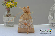 Hessian Favor Bags Wedding 25 x Burlap Wide Lace Love Heart Goody Fillers Thanks