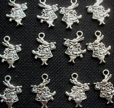 8 White Rabbit Charms Alice in Wonderland 20mm