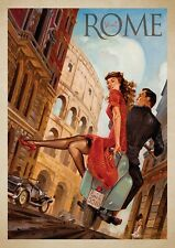 "Reproduction Vintage Italian ""Visit Rome"" Poster, Home Wall Art, Size A2"