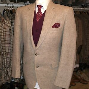 Vintage Mens Summer Tweed Suit Jacket Blazer Oatmeal Harris Donegal Style 42R 42