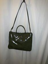 Longchamp Roseau Medium Tote Handbag Purse Olive Green Patent Leather