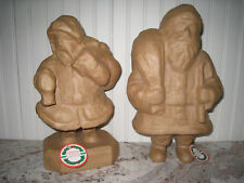 "2 Vintage Ready to Paint Paper Mache Santa Figures 12"" - Reduced!"