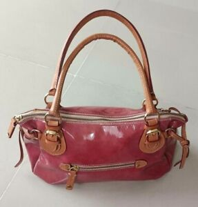 Authentic Cavalcanti Patent Leather Satchel Hand Bag Purse  Mauve Pink Italy