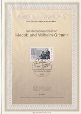 TIMBRE FDC ALLEMAGNE BONN OBL ERSTTAGSBLATT FRERES JACOB WILHELM / GRIMM 1985