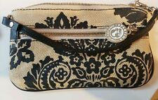 Spartina 449 Linen Leather Daufuskie Island  two colored Wristlet. Black.tan.