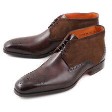 NIB $1295 SANTONI Fatte a Mano Brown Leather and Suede Ankle Boots US 9 Shoes