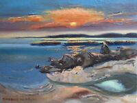 ORIGINAL SIGNED OIL PAINTING SEASCAPE Landscape sunset water K D RYAN