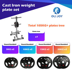 Olympic Rubber Coated Cast Iron Plate 2*5/10/15/20KG Set +Weight plate Tree