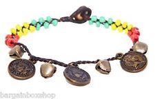 Lucky Coin Unisex Rasta Bell Bead Ankle Bracelet Foot Anklet Hippy Boho Handmade