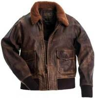 Men Navy G-1 Distressed Brown  Leather Bomber Jacket With Real COLLAR FUR