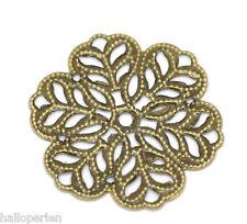 100 HQ Bronze Tone Flower Wraps Connectors 29x29mm