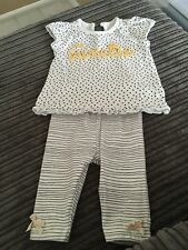 Baby girl short sleeved yellow and black heart and stripe outfit from George 0-3