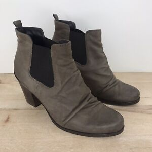 Paul Green Women's Size 6.5, UK 4 Jano Boots Taupe Leather Ankle Booties boots