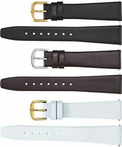New Men's Short Genuine Flat Calf Leather Watch Strap Band