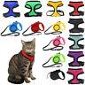 Cat Lead & Adjustable Harness Collar Kitten Leash Pet Retractable Mesh Neck Pull