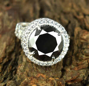 925 Sterling Silver 11.39 Ct Huge Black Diamond Solitaire Halo Men's Round Ring