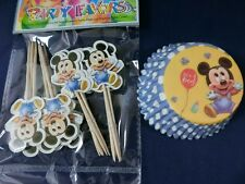 24 set Cupcake Cup Cake Decorating,Toppers and Wrappers PARTY, Baby Mickey Mouse