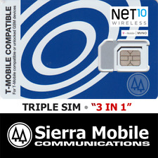 Net10 Triple Sim Mini + Micro + Nano • Gsm 4Glte • T-Mobile Network Mvno • New