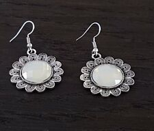 Antiqued Silver Flower Design with Moonstone Effect Stone Drop Pierced Earrings