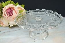 Vintage Clear Glass Pedestal Cake Stand/ Dessert Tray Plate/ Diamond Design
