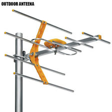 Outdoor 100Miles Amplified Yagi Antenna HD TV 15dB Long Range UHF/VHF/FM