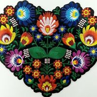 Large Floral Embroidered Patch Heart Shape Iron On Retro Appliques Jacket Chic