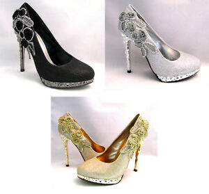 Women's Pumps High Heel Platform Stiletto Glitter Rhinestone Flower Sexy Shoes
