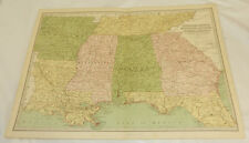 "1878 Antique Color Map/ Tn, Ga, Mi, La, Al, Ar, Fl /Large 12.5x17"" Plus Index"