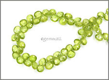 40ct Peridot Pear Briolette Faceted Beads 5-6mm #85303