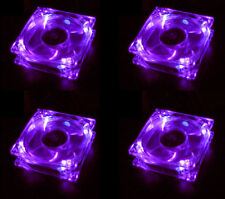 Lots 4 Purple Quad 4-LED Light Quite Clear 80mm PC Computer Case Cooling Fan Mod