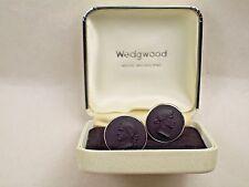 Vintage Wedgwood Black Basalt Cameo & 925 Sterling Silver Cufflinks