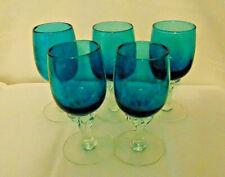 "5 Blue Cordial Stemmed Glasses, 4"" x 2""  VGC"