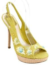 CHRISTIAN DIOR Platform Sandal Yellow Snakeskin Leather Straw Floral Ankle 38
