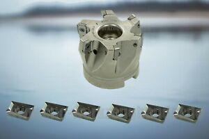 6x APKT100304PDFR + Messerkopf 90° für APKT1003 D=50mm für ALU NEU