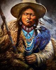 Original Oil Painting WESTERN ART INDIAN Southwest Native American WEST RAVEN