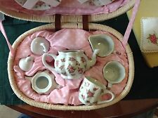 "CHILD SIZE TEA SET IN CARRY BASKET FOR DECORATION TEA POT 3 1/2"" TALL"