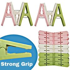 32 X PLASTIC STRONG GRIP CLOTHES WASHING LINE AIRER DRYING DRY GARDEN CLIPS PEGS