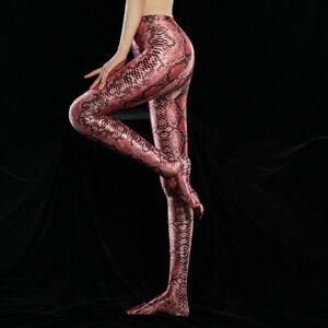 GLOSSY Satin Leopard Spandex Pantyhose High Waist Tights Sports Fitness Leggings