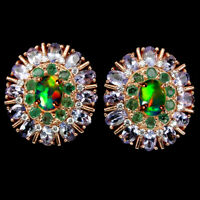 Unheated Oval Fire Opal 8x6mm Emerald Tanzanite Cz 925 Sterling Silver Earrings
