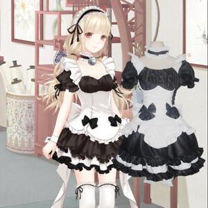 Japanese Lolita Maid Dress Chocolate Apron Bowknot Skirt Coffee Waitress Costume