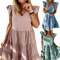 Women's Summer Smock Dress Ladies Holiday Sleeveless Beach Loose Frill Sundress#