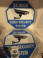 24 Hour VIDEO Security SIGN Home Warning Metal Signs Lot Of 2