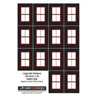 LARGE CRIMSON SASH WINDOWS FOR OO GAUGE 1:76 SCALE MODEL RAILWAY WX001-OOC