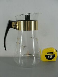 CORNING HEAT PROOF CLEAR GLASS COFFEE POT ☕ CARAFE w/LID GOLD STARBURST 6 CUP