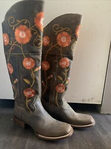 Dan Post Women Tall Leather Boots Square Toe Cowboy Western Flower Size 7.5