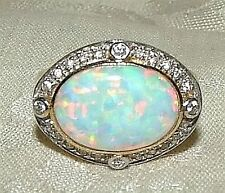 BEAUTIFUL Vintage Blue FIRE OPAL Ring 24 Diamonds 14K GOLD Basket Setting Size 6