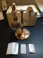 Merkur Gold-Plated HD 34G Safety Razor Badger Brush & Stand Shaving Set +Blade