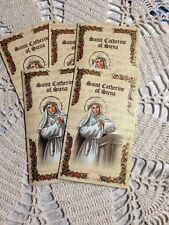 """""""ST. CATHERINE OF SIENA"""" LAMINATED Gold Imprinted Detail Prayer card Lot/5 *NEW*"""